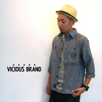 ?VICIOUS BRAND??????/3/4 DUNGREE SHIRTS